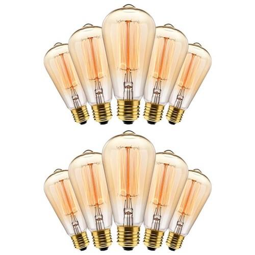 Kit com 10 Lâmpadas Filamento Carbono ST64 40w 127V 2000K 48LCARST6401 Elgin