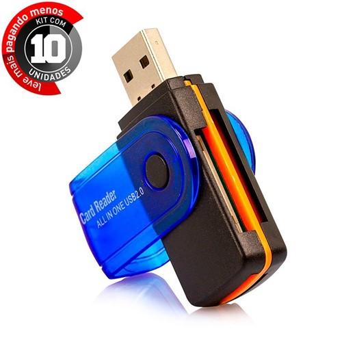 Kit com 10 Leitor de Cartão de Memória Universal USB Preto