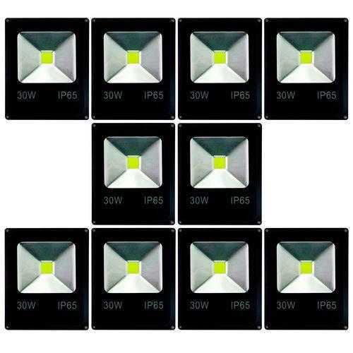 Kit com 10 Peças - Holofote Refletor Super Led 30w Verde - a Prova Dágua