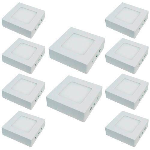 Kit com 10 Peças - Luminária Painel Plafon Led Branco Frio Quadrado Sobrepor 6w 6500k