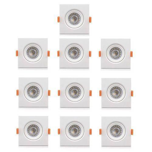 Kit com 10 Peças - Spot Quadrado Branco Frio Led Direcionável para Teto Sanca e Gesso - Branco 5w