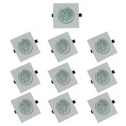 Kit com 10 Peças - Spot Quadrado Branco Frio Led Direcionável para Teto Sanca e Gesso - Branco 7w