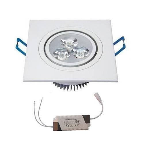 Kit com 15 Peças - Spot Quadrado Branco Frio Led Direcionável para Teto Sanca e Gesso - Branco 3w