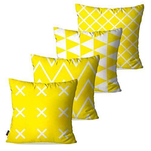Kit com 4 Capas para Almofadas Decorativas Amarelo Geométrico
