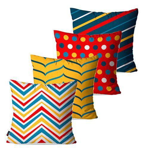 Kit com 4 Almofadas Decorativas Amarelo Geométrico