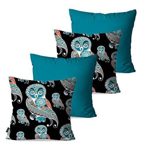 Kit com 4 Almofadas Decorativas Azul Corujas