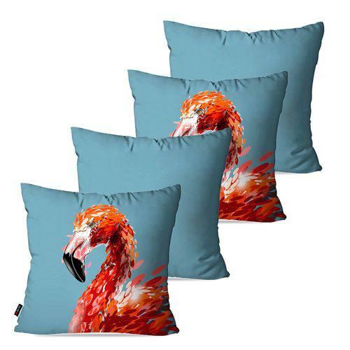 Kit com 4 Capas para Almofadas Decorativas Azul Flamingo