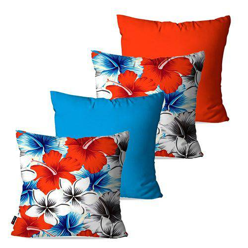 Kit com 4 Almofadas Decorativas Azul Flores