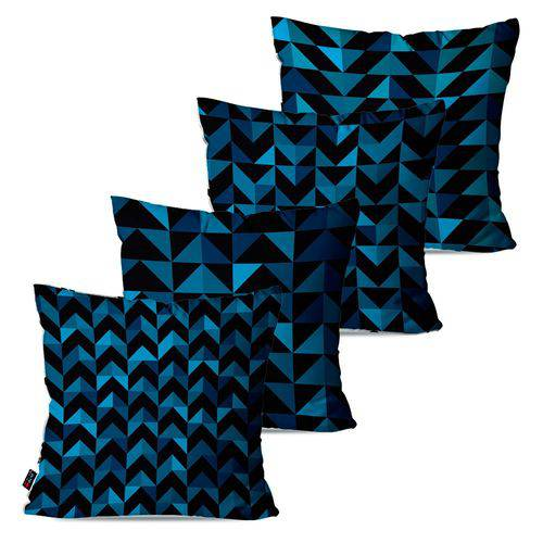 Kit com 4 Almofadas Decorativas Azul Geométrico