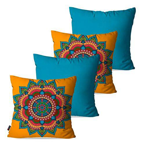 Kit com 4 Almofadas Decorativas Azul Mandala