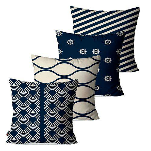 Kit com 4 Almofadas Decorativas Azul Navy