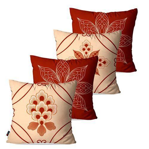 Kit com 4 Capas para Almofadas Decorativas Bege Floral