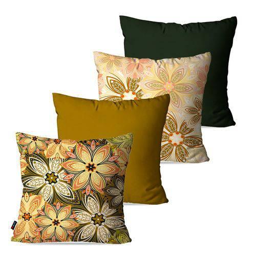 Kit com 4 Almofadas Decorativas Bege Flores
