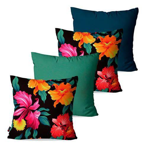 Kit com 4 Almofadas Decorativas Coloridas Floral