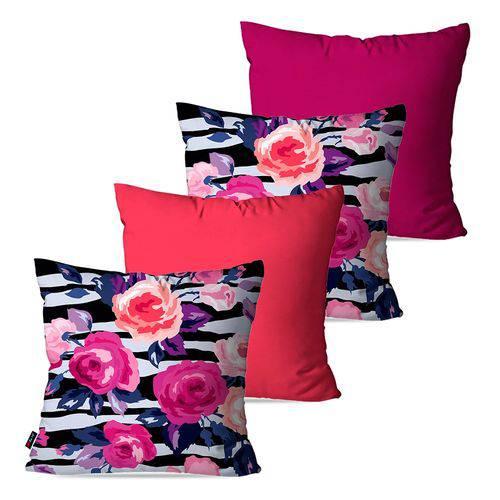 Kit com 4 Almofadas Decorativas Coral Floral