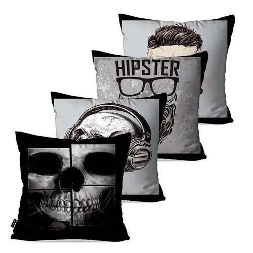 Kit com 4 Almofadas Decorativas Hipster Caveiras