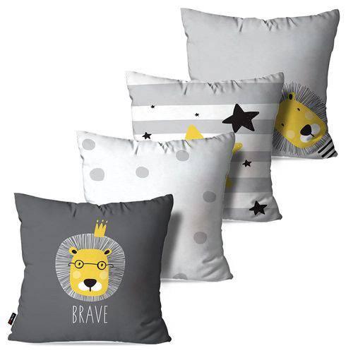 Kit com 4 Almofadas Decorativas Infantil Cinza Leão Brave