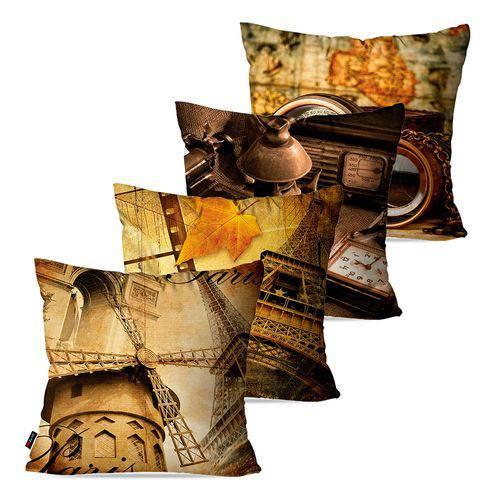 Kit com 4 Almofadas Decorativas Marrom Vintage