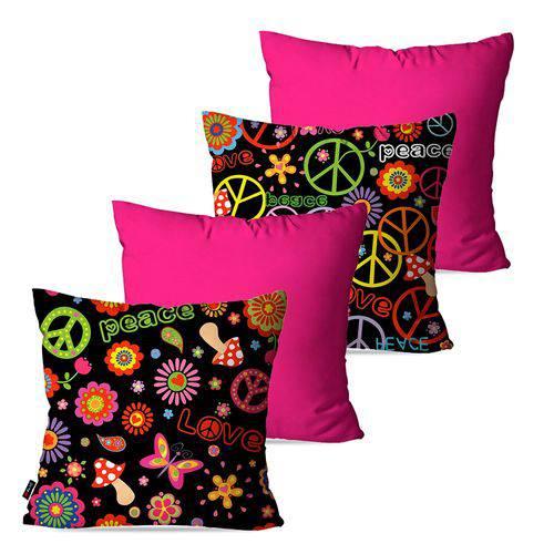 Kit com 4 Almofadas Decorativas Pink Peace Love