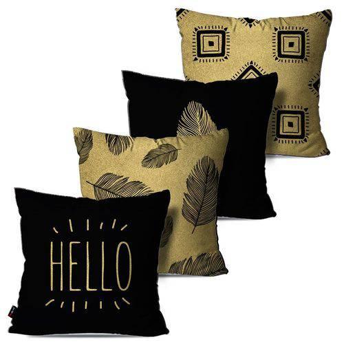 Kit com 4 Almofadas Decorativas Preto/Dourado Hello Penas