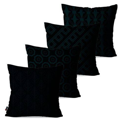 Kit com 4 Almofadas Decorativas Preto Geométrico