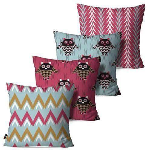 Kit com 4 Almofadas Decorativas Rosa Corujas