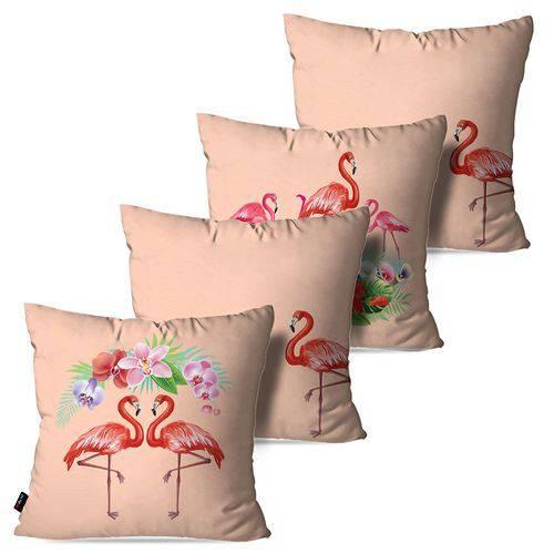 Kit com 4 Almofadas Decorativas Rosa Envelhecido Flamingos e Flores