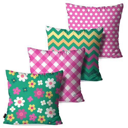 Kit com 4 Almofadas Decorativas Rosa Flores Poá Chevron