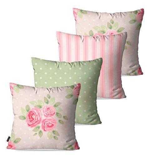 Kit com 4 Almofadas Decorativas Rosa Flores