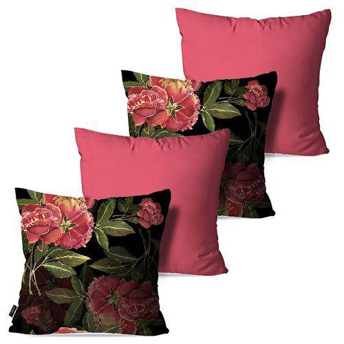 Kit com 4 Almofadas Decorativas Rosa Flowers
