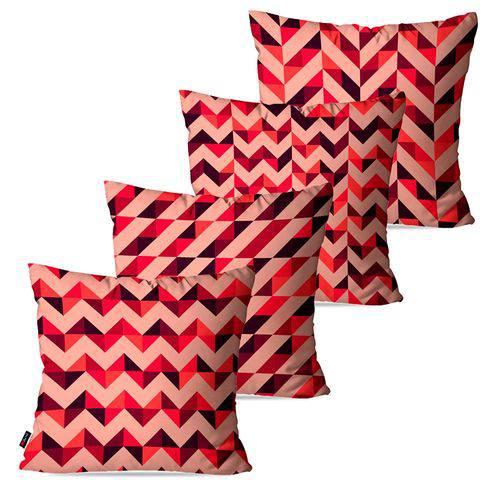 Kit com 4 Capas para Almofadas Decorativas Rosa Geométrico