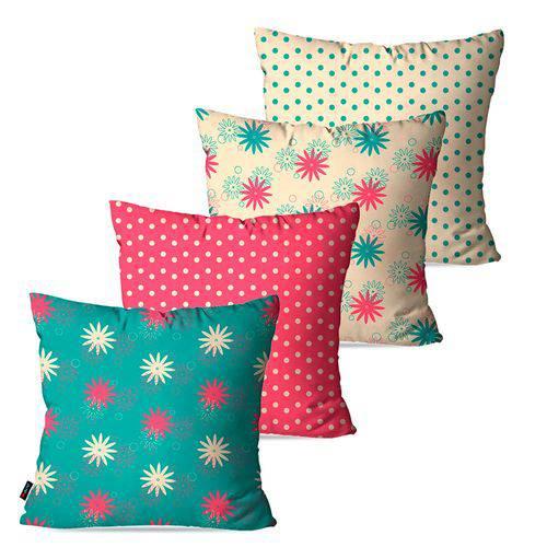 Kit com 4 Almofadas Decorativas Rosa Poá