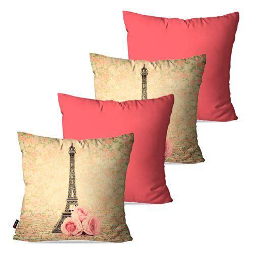 Kit com 4 Capas para Almofadas Decorativas Rosa Torre Eiffel