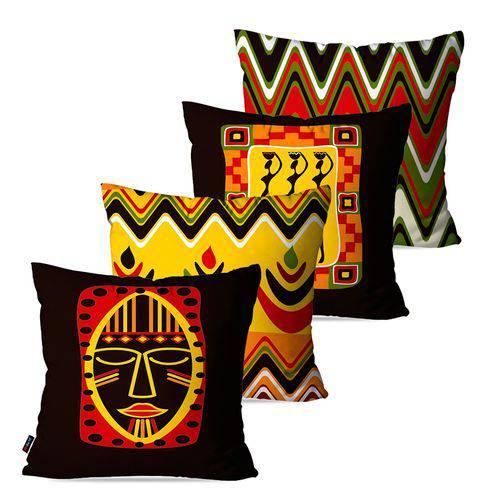Kit com 4 Almofadas Decorativas Tribo Mascara