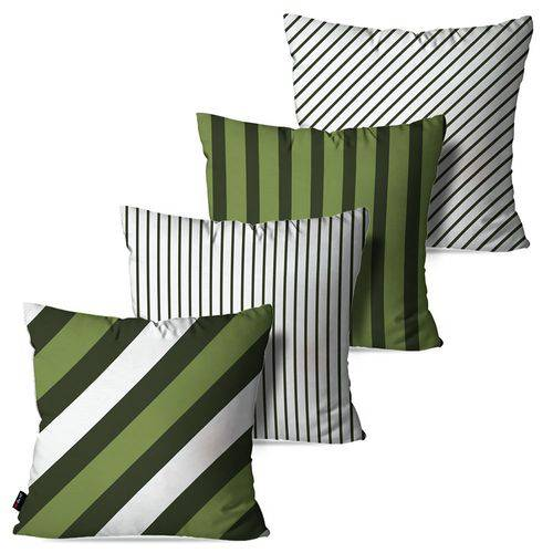 Kit com 4 Almofadas Decorativas Verde Listras