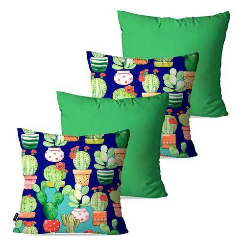 Kit com 4 Almofadas Decorativas Verde Vasos e Cactos