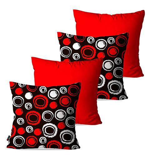 Kit com 4 Almofadas Decorativas Vermelho Círculos