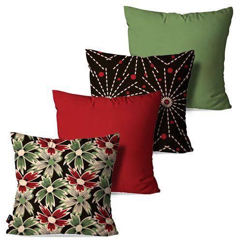 Kit com 4 Almofadas Decorativas Vermelho Flores Abstrato