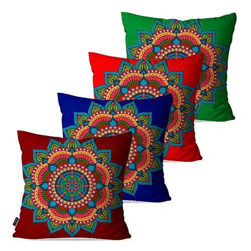 Kit com 4 Almofadas Decorativas Vermelho Mandala
