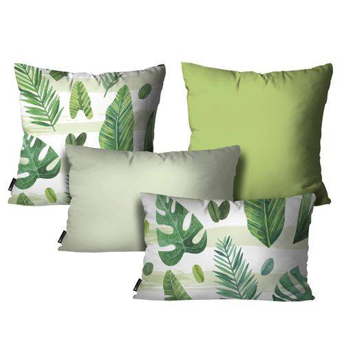 Kit com 4 Capas para Almofadas Floral Verde Kit 4