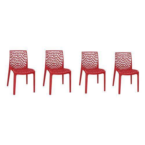 Kit com 4 Cadeiras Gruvyer Vermelha