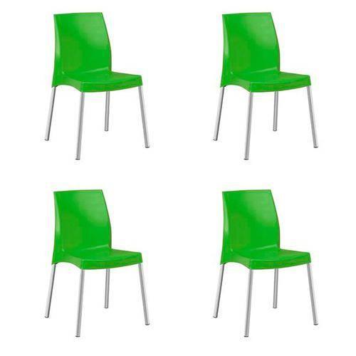 Kit com 4 Cadeiras Jasmim Verde Planmar