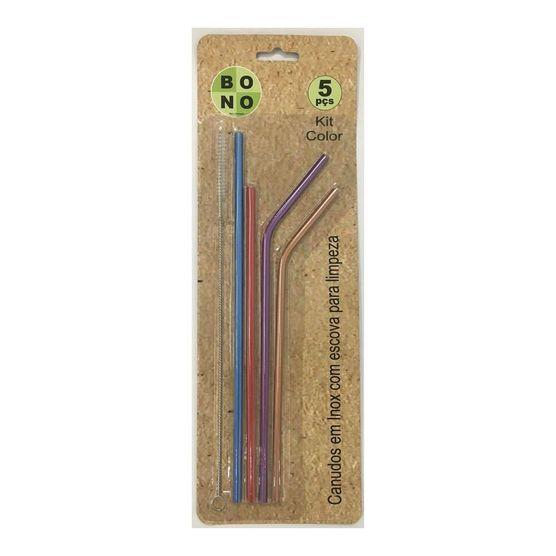 Kit com 4 Canudos Colors Ecológicos e Reutilizáveis em Inox com Escova