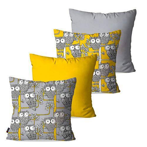 Kit com 4 Capas para Almofadas Decorativas Amarelo Corujas
