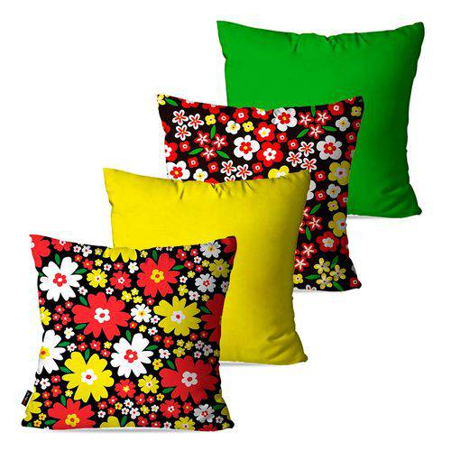 Kit com 4 Capas para Almofadas Decorativas Amarelo Flores