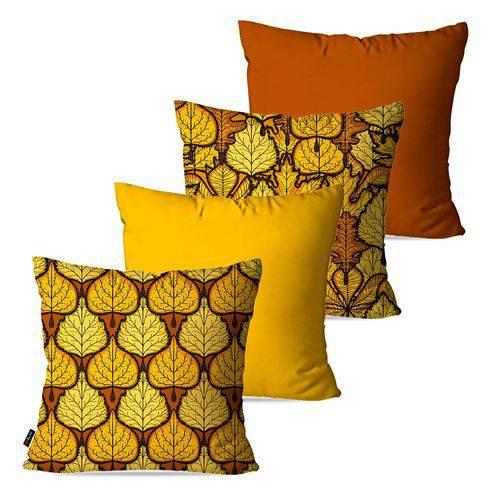 Kit com 4 Capas para Almofadas Decorativas Amarelo Folhas de Outono