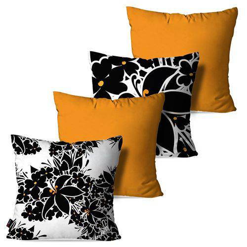 Kit com 4 Capas para Almofadas Decorativas Amarelo Ocre Flores