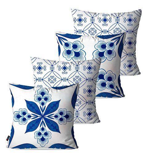 Kit com 4 Capas para Almofadas Decorativas Azul Geométrico