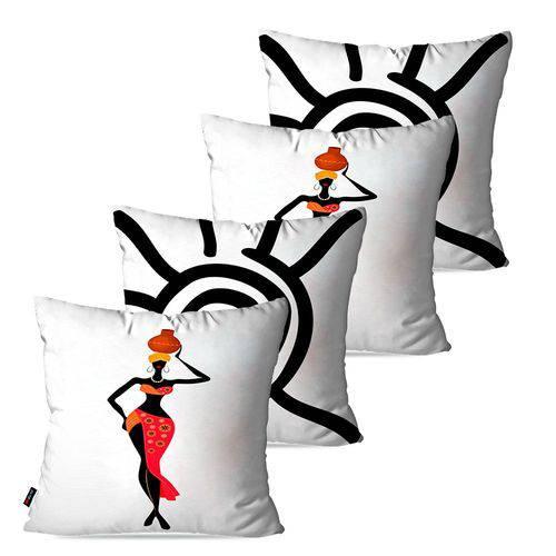 Kit com 4 Capas para Almofadas Decorativas Branco Africanas