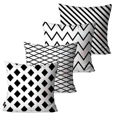 Kit com 4 Capas para Almofadas Decorativas Branco Geométrico